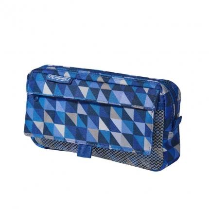 Stiftetasche mit 3 Fächern von Herlitz, Geometric Blue