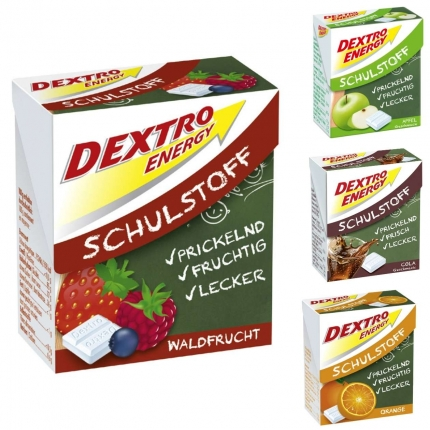 Dextro Energy Schulstoff, verschiedene Geschmacksrichtungen