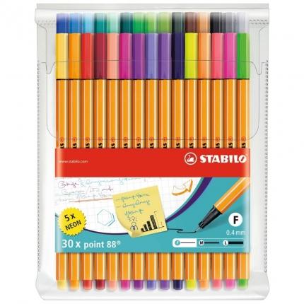 STABILO point 88 30er Etui: 25 Farben und 5 Neon