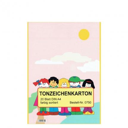 Tonzeichenkarton farbig sortiert A4, 20 Blatt