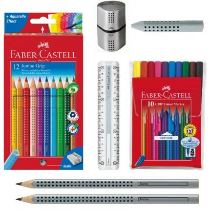 Faber-Castell Grip Set, silber: Jumbo Grip Stifte, Lineal, Spitzer