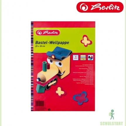 Bastel-Wellpappe, 10 Farben, 25 x 35 cm, Herlitz