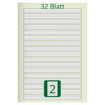 Großes Doppelheft DIN A4, Lineatur 2, 32 Blatt