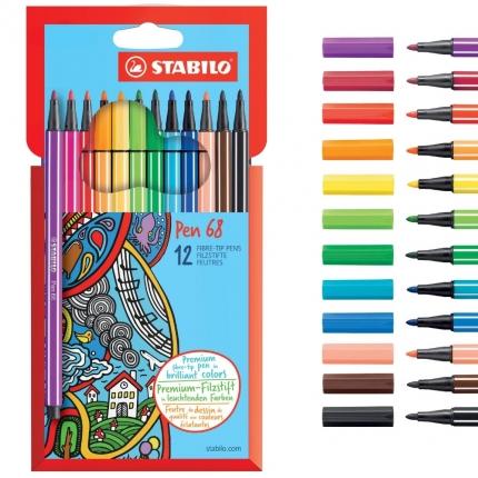 Stabilo Fasermaler Pen 68, 12 Farben