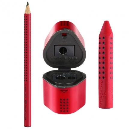 Jumbo Grip Set Faber-Castell, rot: Dicker Bleistift, Radierer, Spitzdose
