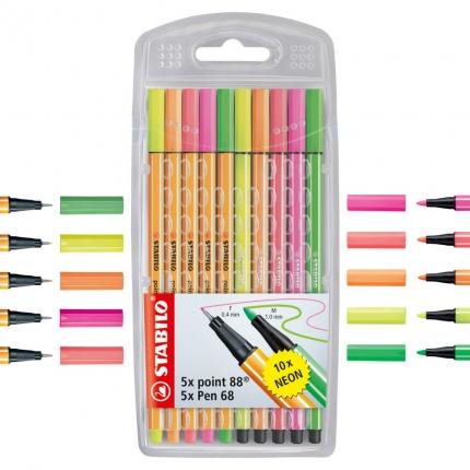 Stabilo neon: 5 Fineliner und 5 Fasermaler