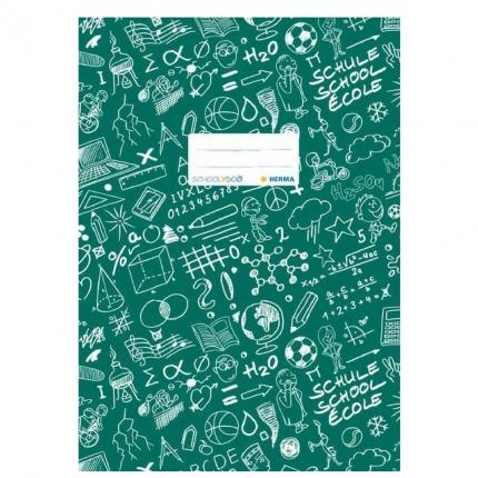 Hefteinband A4, grün gemustert, Herma Schoolydoo