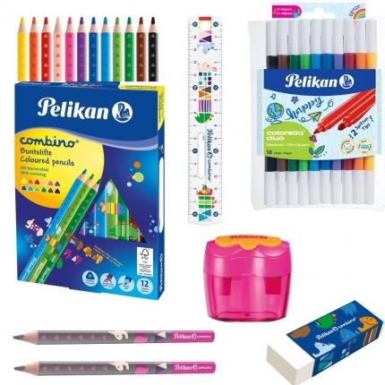 Pelikan Schreibset, pink: Jumbo Stifte, Radierer, Spitzer