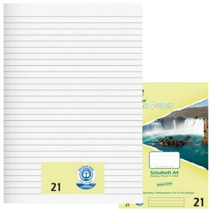 Schulhefte Umweltpapier A4, Lineatur 21, liniert, Green Paper