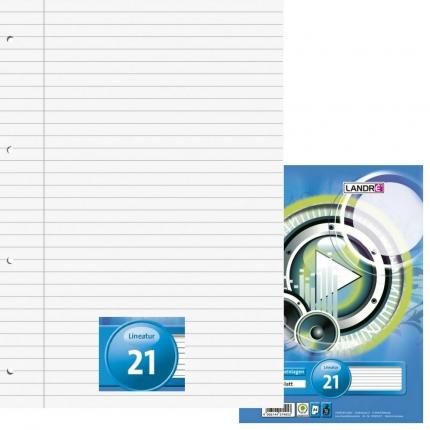 Ringbucheinlagen A4 liniert, Lineatur 21, 50 Blatt, Landré