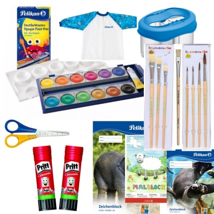 Linkshänder Bastel-Set XL, blau: Farbkasten, Pinsel, Linkshänder-Schere & mehr