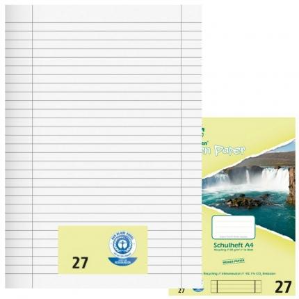 Schulhefte Umweltpapier A4, Lineatur 27, liniert mit Doppelrand, Green Paper