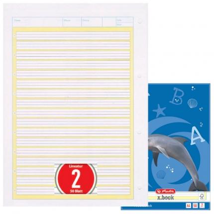 Arbeitsblock Lineatur 2, 50 Blatt gelocht, A4, Herlitz