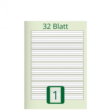 Doppelheft DIN A5, Lineatur 1, 32 Blatt