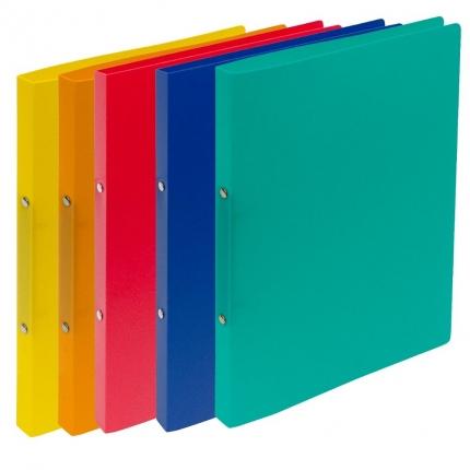 Fünf Ringhefter Plastik: gelb, orange, rot, blau und grün