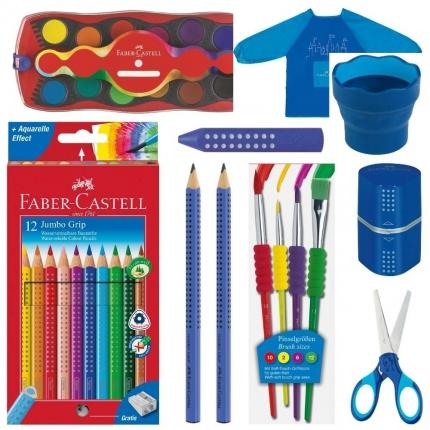 Faber-Castell Set XL, blau: Jumbo Grip Stifte, Farbkasten und mehr