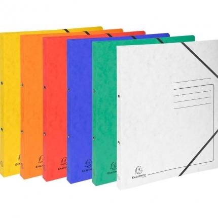 Sechs Ringhefter Exacompta: weiß, gelb, orange, rot, blau und grün
