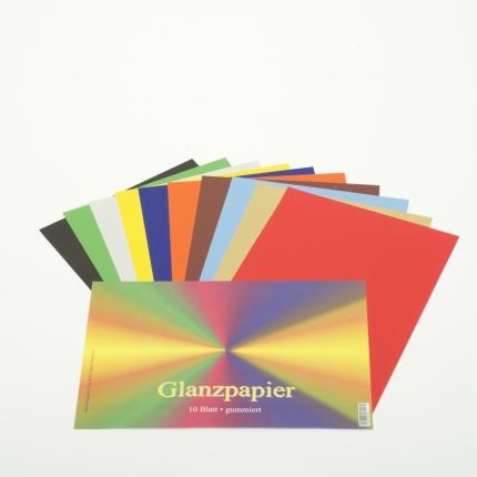 Glanzpapier, 10 Farben, gummiert