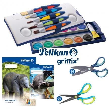 Pelikan griffix Set XL: Farbkasten, griffix Pinsel+Scheren, und mehr