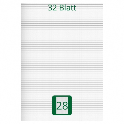 Großes Doppelheft DIN A4, Lineatur 28, 32 Blatt