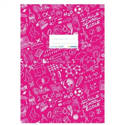 Hefteinband A4, pink gemustert, Herma Schoolydoo