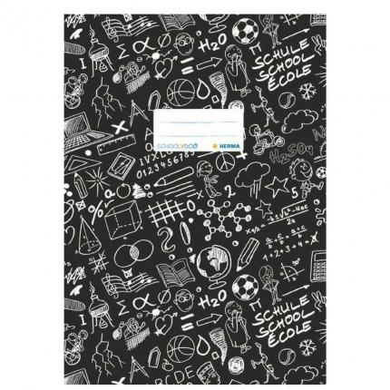 Hefteinband A4, schwarz gemustert, Herma Schoolydoo