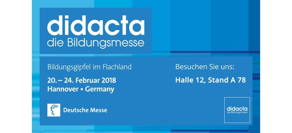 Beauchen Sie uns auf der didacta Bildungsmesse, 20.-24.02.2018.