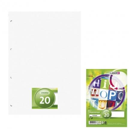Ringbucheinlagen A5 blanko, Lineatur 20, 50 Blatt, Landré