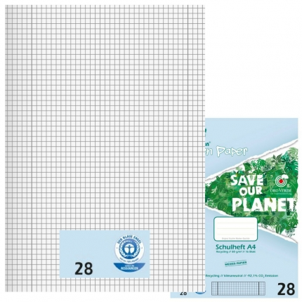 Recycling Schulhefte Lineatur 28, kariert mit Doppelrand, A4, Green Paper
