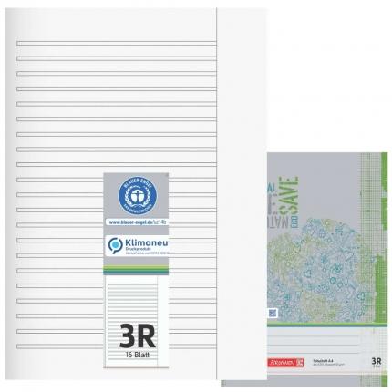 Schulhefte Blauer Engel: Lineatur 3R, A4, Brunnen