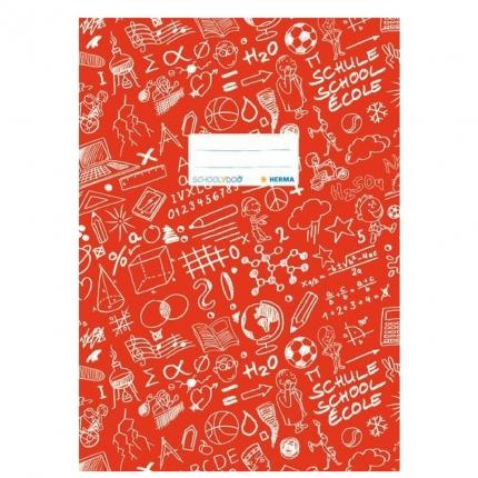 Hefteinband A4, rot gemustert, Herma Schoolydoo