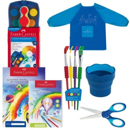 Faber-Castell-Malset XL inklusive Grip-Schere und Blöcke, blau