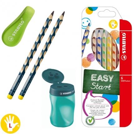 1. Klasse-Schreibset für Linkshänder, grün: Dicke Bleistifte, Buntstifte etc.