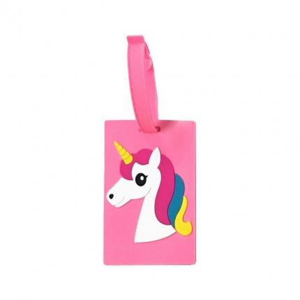 """Taschenanhänger """"Einhornkopf rosa"""", mit Adresskarte"""