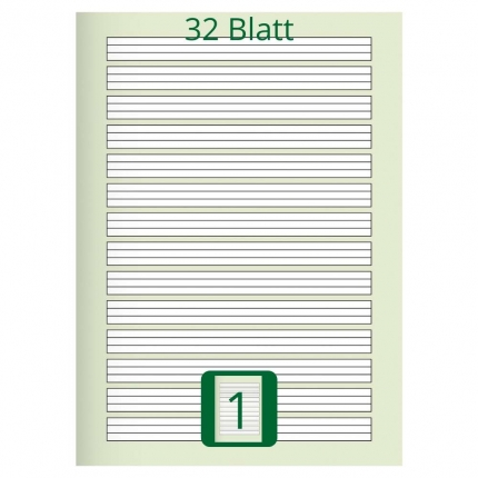 Großes Doppelheft DIN A4, Lineatur 1, 32 Blatt