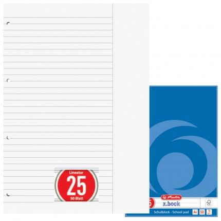 Linierter Schulblock mit Rand, gelocht (A4, Lineatur 25, Herlitz)
