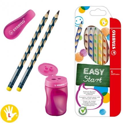 1. Klasse-Schreibset für Linkshänder, rot: Dicke Bleistifte, Buntstifte etc.