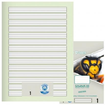 Schulhefte Blauer Engel: Lineatur 1, A4, Green Paper