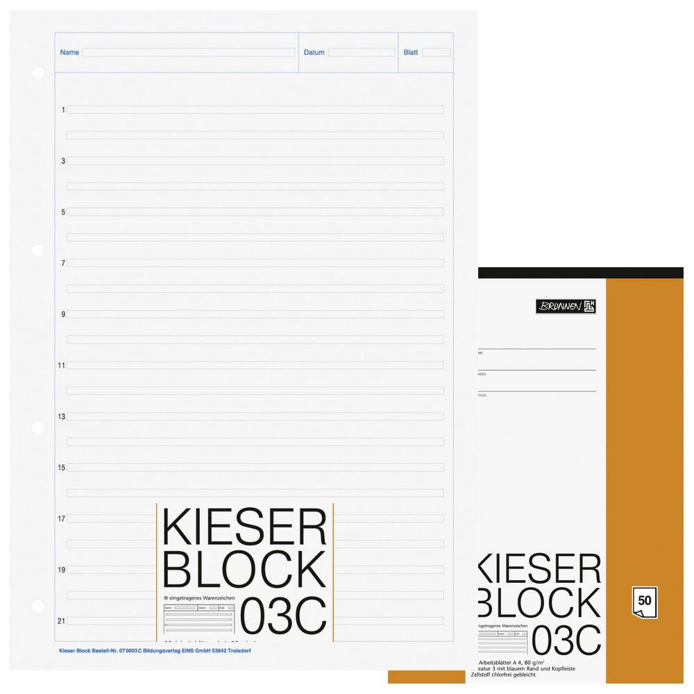 Kieser-Block 03C liniert Lineatur 3  Brunnen Kieser 070003 C