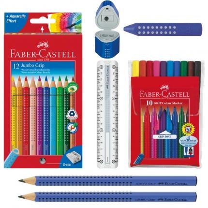 Faber-Castell Grip Set, blau: Jumbo Grip Stifte, Lineal, Spitzer