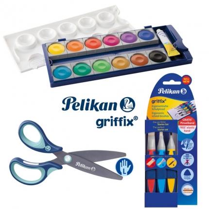 Pelikan griffix Set, Linkshänder: Farbkasten, griffix Pinsel, griffix Schere