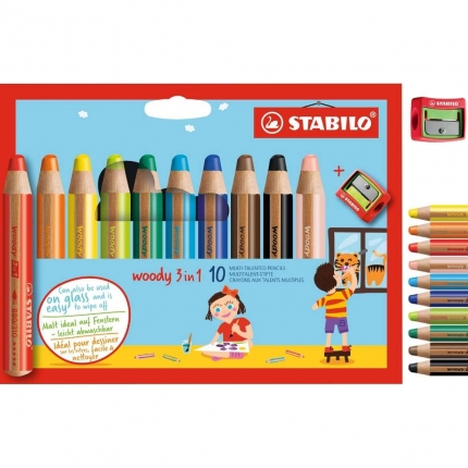 Stabilo woody 3 in 1, 10 Farben mit Spitzer