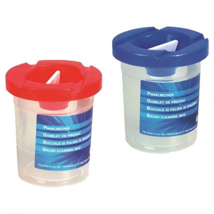 Pinselbecher, rot oder blau