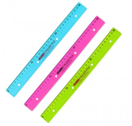 30 cm Lineal zum Abheften, farbig sortiert