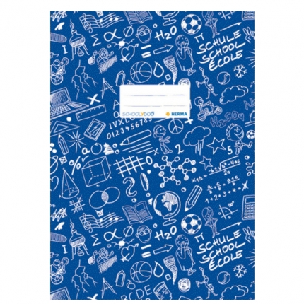 Hefteinband A4, blau gemustert, Herma Schoolydoo