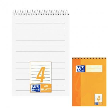 Schreibblock A5, 4. Klasse (Kopfspirale, Lineatur 4, Oxford)