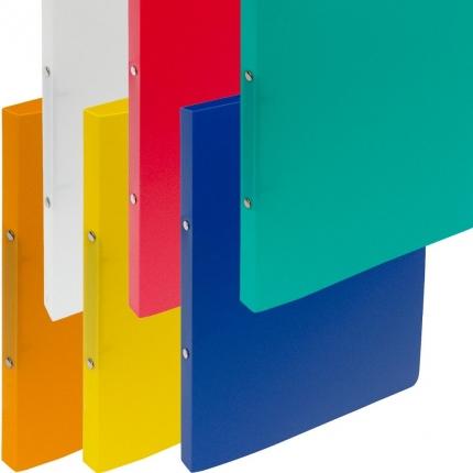 Sechs Ringhefter Plastik: weiß, gelb, orange, rot, blau und grün