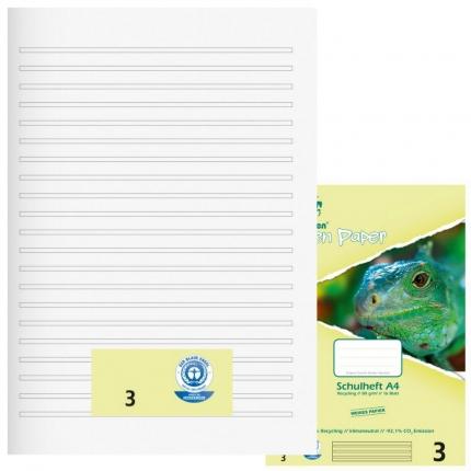 Schulhefte Blauer Engel: Lineatur 3, A4, Green Paper