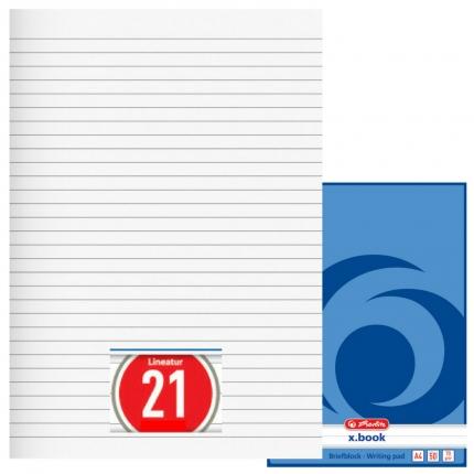 Briefblock liniert, 50 Blatt ungelocht (A4, Lineatur 21, Herlitz)