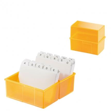 HAN Karteibox A8 quer mit A-Z Register + 100 Karten, signal-orange